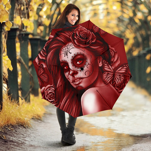 Calavera Fresh Look Design #2 Umbrella (Red Freedom Rose) - FREE SHIPPING