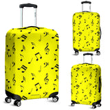 Musical Notes Design #1 (Yellow) Luggage Cover - FREE SHIPPING