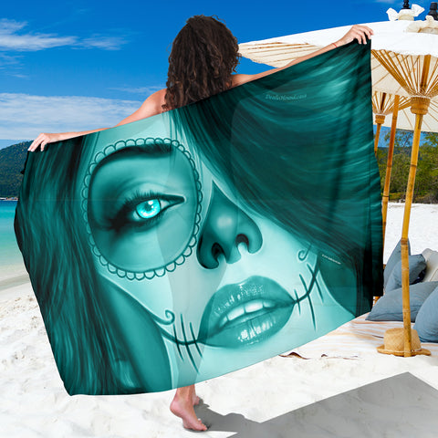 Calavera Fresh Look Design #3 Sarong (Ice Blue Aquamarine) - FREE SHIPPING