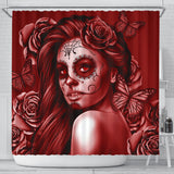 Calavera Fresh Look Design #2 Shower Curtain (Red Freedom Rose) - FREE SHIPPING