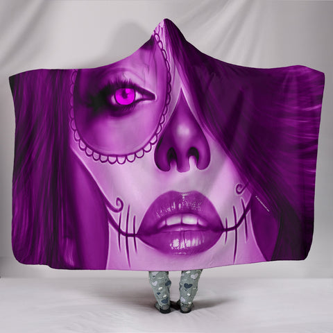 Calavera Fresh Look Design #3 Hooded Blanket (Purple Amethyst) - FREE SHIPPING