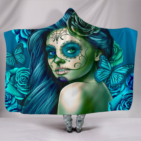 Calavera Fresh Look Design #2 Hooded Blanket (Turquoise Tiffany Rose) - FREE SHIPPING