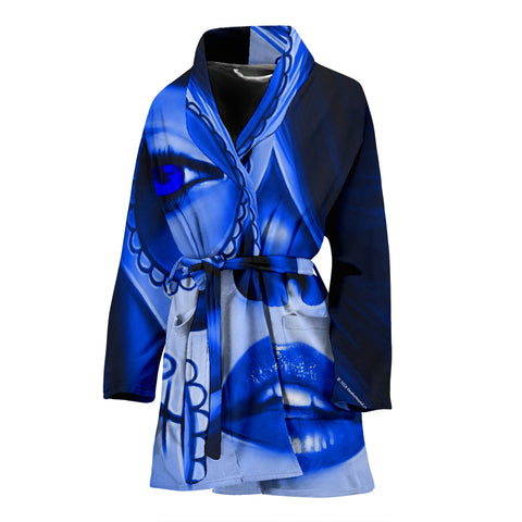 Calavera Fresh Look Design #3 Women's Bathrobe (Blue Lapis Lazuli) - FREE SHIPPING