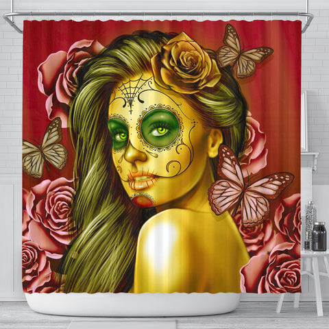 Calavera Fresh Look Design #2 Shower Curtain (Yellow Smiley Face Rose) - FREE SHIPPING