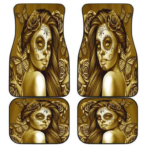 Calavera Fresh Look Design #2 Car Floor Mats (Hazel Sparkle & Shine Rose, Front & Back) - FREE SHIPPING
