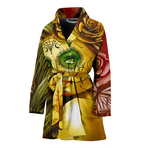 Calavera Fresh Look Design #2 Women's Bathrobe (Yellow Smiley Face Rose) - FREE SHIPPING