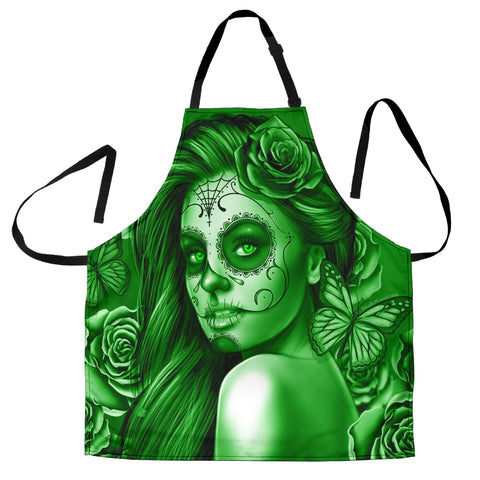 Calavera Fresh Look Design #2 Women's Apron (Green Lime Rose) - FREE SHIPPING