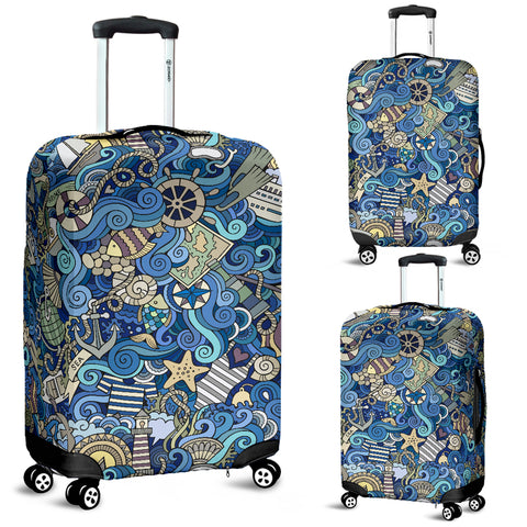 Nautical Design Luggage Cover (Marina) - FREE SHIPPING