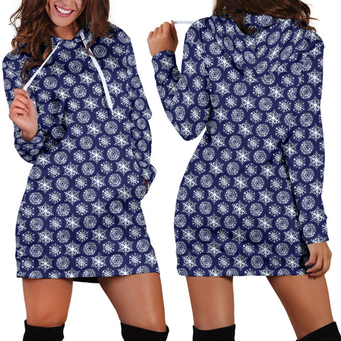 Ugly Christmas Sweater Hoodie Dress - Snowflakes Design #4 (Dark Blue) - For Small To Plus Size Divas - FREE SHIPPING