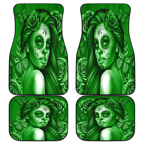 Calavera Fresh Look Design #2 Car Floor Mats (Green Lime Rose, Front & Back) - FREE SHIPPING
