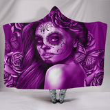 Calavera Fresh Look Design #2 Hooded Blanket (Purple Night Owl Rose) - FREE SHIPPING