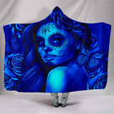 Calavera Fresh Look Design #2 Hooded Blanket (Blue Elusive Rose) - FREE SHIPPING