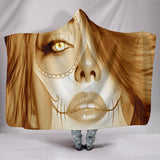 Calavera Fresh Look Design #3 Hooded Blanket (Honey Tiger's Eye) - FREE SHIPPING