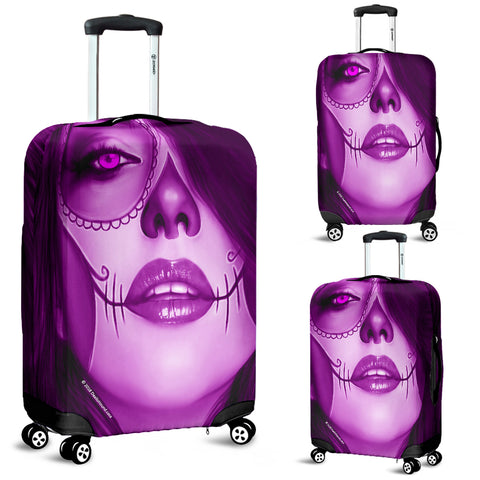 Calavera Fresh Look Design #3 Luggage Cover (Purple Amethyst) - FREE SHIPPING
