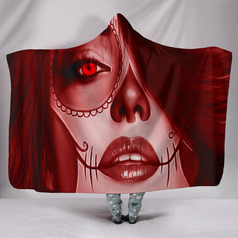 Calavera Fresh Look Design #3 Hooded Blanket (Red Garnet) - FREE SHIPPING