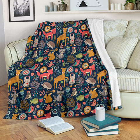 Wildlife Collection - Forest Animals (Dark Blue) Throw Blanket - FREE SHIPPING