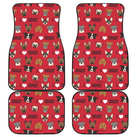 I Love Dogs Car Floor Mats (Red, Front & Back) - FREE SHIPPING