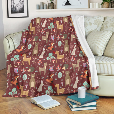 Wildlife Collection - Forest Animals (Rust) Throw Blanket - FREE SHIPPING
