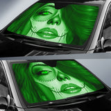 Calavera Fresh Look Design #3 Auto Sun Shade (Green Emerald) - FREE SHIPPING