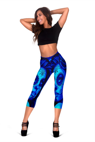 Calavera Fresh Look Design #2 Capri Leggings (Blue Elusive Rose) - FREE SHIPPING
