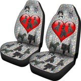 I Love Schnauzers Car Seat Covers (Paw Prints, With Heart)  - FREE SHIPPING