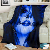 Calavera Fresh Look Design #3 Throw Blanket (Blue Lapis Lazuli) - FREE SHIPPING