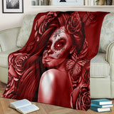 Calavera Fresh Look Design #2 Throw Blanket (Red Freedom Rose) - FREE SHIPPING