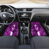 Calavera Fresh Look Design #2 Car Floor Mats (Purple Night Owl Rose, Front & Back) - FREE SHIPPING