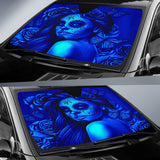 Calavera Fresh Look Design #2 Auto Sun Shade (Blue Elusive Rose) - FREE SHIPPING