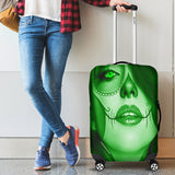 Calavera Fresh Look Design #3 Luggage Cover (Green Emerald) - FREE SHIPPING