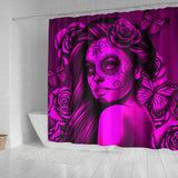 Calavera Fresh Look Design #2 Shower Curtain (Pink Easy On The Eyes Rose) - FREE SHIPPING