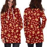 Ugly Christmas Sweater Hoodie Dress - Gingerbread Men Design #2 (Brown) - For Small To Plus Size Divas - FREE SHIPPING
