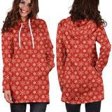 Ugly Christmas Sweater Hoodie Dress - Snowflakes Design #2 (Red) - For Small To Plus Size Divas - FREE SHIPPING