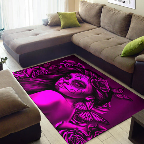 Calavera Fresh Look Design #2 Area Rug (Horizontal, Pink Easy On The Eyes Rose) - FREE SHIPPING