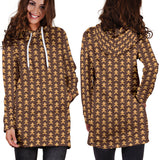 Ugly Christmas Sweater Hoodie Dress - Gingerbread Men Design #4 (Brown) - For Small To Plus Size Divas - FREE SHIPPING