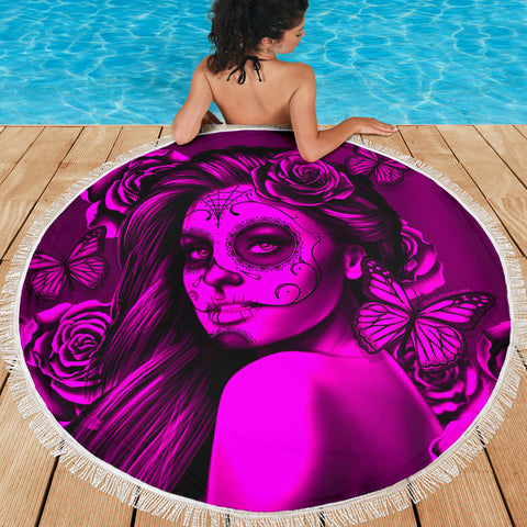 Calavera Fresh Look Design #2 Beach Blanket (Pink Easy On The Eyes Rose) - FREE SHIPPING