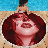Calavera Fresh Look Design #3 Beach Blanket (Red Garnet) - FREE SHIPPING