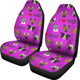 I Love Dogs Car Seat Covers (FPD Lilac) - FREE SHIPPING