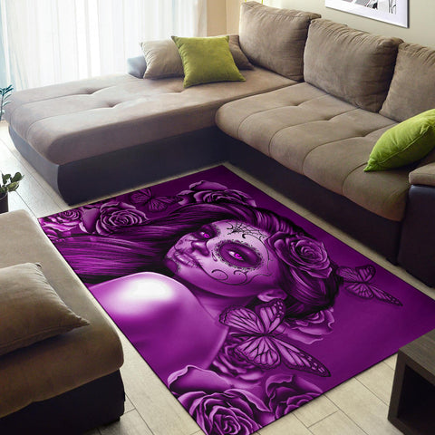 Calavera Fresh Look Design #2 Area Rug (Horizontal, Purple Night Owl Rose) - FREE SHIPPING