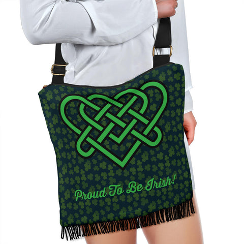 Celtic Knot Proud To Be Irish Design #4 Cross-Body Boho Handbag - FREE SHIPPING