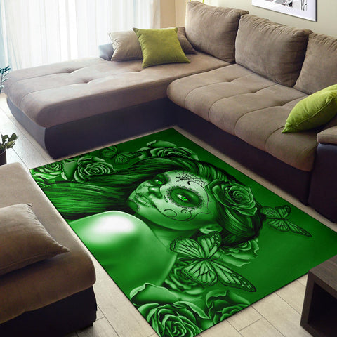 Calavera Fresh Look Design #2 Area Rug (Horizontal, Green Lime Rose) - FREE SHIPPING