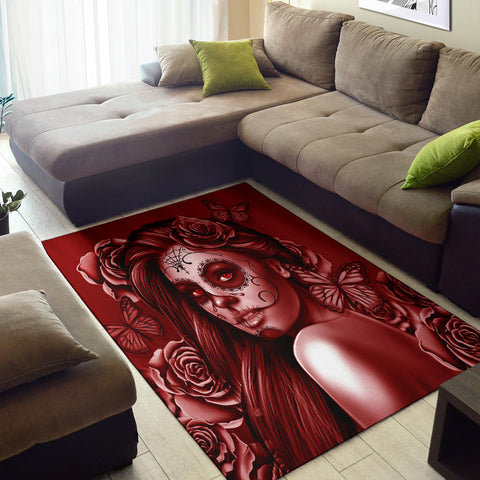 Calavera Fresh Look Design #2 Area Rug (Vertical, Red Freedom Rose) - FREE SHIPPING