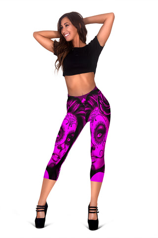Calavera Fresh Look Design #2 Capri Leggings (Pink Easy On The Eyes Rose) - FREE SHIPPING