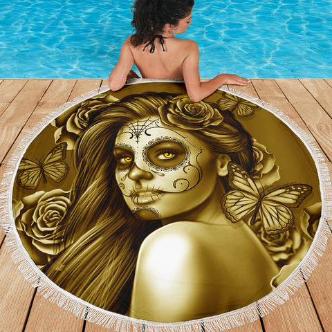 Calavera Fresh Look Design #2 Beach Blanket (Hazel Sparkle & Shine Rose) - FREE SHIPPING