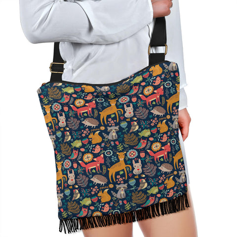 Wildlife Collection - Forest Animals Cross-Body Boho Handbag (Dark Blue) - FREE SHIPPING