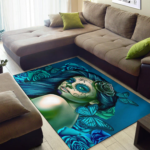Calavera Fresh Look Design #2 Area Rug (Horizontal, Turquoise Tiffany Rose) - FREE SHIPPING