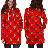 Ugly Christmas Sweater Hoodie Dress - Snowflakes Design #5 (Red) - For Small To Plus Size Divas - FREE SHIPPING