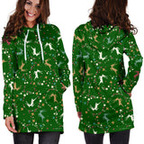 Ugly Christmas Sweater Hoodie Dress - Flying Reindeer Design #1 (Green) - For Small To Plus Size Divas - FREE SHIPPING