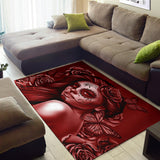 Calavera Fresh Look Design #2 Area Rug (Horizontal, Red Freedom Rose) - FREE SHIPPING