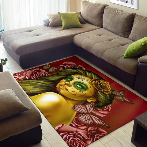 Calavera Fresh Look Design #2 Area Rug (Horizontal, Yellow Smiley Face Rose) - FREE SHIPPING